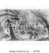 Historical Image of Landing of the Pilgrims at Plymouth - Black and White Version by Al