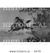 Historical Image of Major Samuel McColloch Riding a Horse - American Revolutionary War - Black and White Version by Al