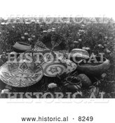 Historical Image of Mission Indian Baskets 1924 - Black and White Version by Al