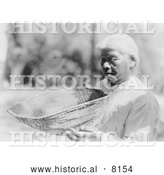 Historical Image of Miwok Native American Indian Woman Holding Sifting Basket 1924 - Black and White by Al
