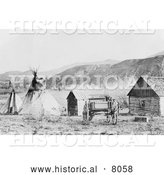 Historical Image of Native American Colville Agency - Black and White by Al