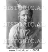 Historical Image of Native American Indian Apsaroke Man 1908 - Black and White by Al