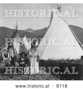 Historical Image of Native American Indian Chief Charlot with Family 1908 - Black and White by Al