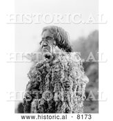 Historical Image of Native American Indian Mohave Man Wearing Rabbit Skin 1907 - Black and White by Al