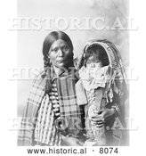 Historical Image of Native American Indian Pee-a-rat Holding Baby 1899 - Black and White by Al