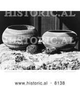 Historical Image of Native American Indian Pomo Baskets 1924 - Black and White by Al