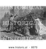 Historical Image of Native American Indian Salish Women Drying Meat 1910 - Black and White by Al