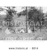 Historical Image of Native American Indian Tipis 1910 - Black and White by Al