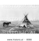 Historical Image of Native American Indian Ute Tepee 1915 - Black and White by Al