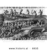 Historical Image of Native American Indians Killing Giant Alligators - Black and White Version by Al