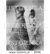 Historical Image of Native American Pee-a-rat with Baby 1899 - Black and White by Al