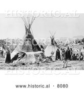 Historical Image of Native American Shoshoni Indians with Tepees - Black and White by Al