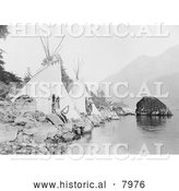 Historical Image of Native American Teepees on the Columbia 1922 - Black and White by Al