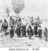 Historical Image of Native American Ute Braves and Women 1893 - Black and White by Al