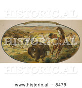 Historical Image of Native Americans Hunting Bison 1906 by Al