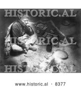 Historical Image of Navajo Indian Smoking by Fire 1915 - Black and White Version by Al