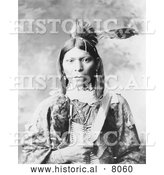 Historical Image of Parrum Native American Indian 1899 - Black and White by Al