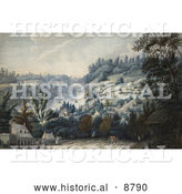Historical Image of People, Horses and Carriages on a Road in Queenston, Ontario on the Niagara River by Al