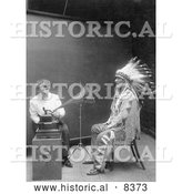 Historical Image of Piegan Indian, Mountain Chief and Phonograph 1916 - Black and White Version by Al