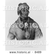 Historical Image of Se-loc-ta, a Creek Indian Chief - Black and White Version by Al
