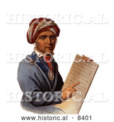 Historical Image of Sequoyah Holding the Cherokee Alphabet by Al