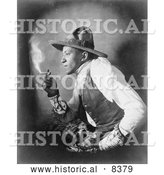 Historical Image of Sioux Indian Smoking Cigarette 1908 - Black and White Version by Al