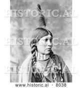 Historical Image of Tan-nah, Native American Indian 1899 - Black and White by Al