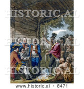 Historical Image of the Indians Giving a Talk to Colonel Bouquet 1764 by Al