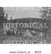 Historical Image of Tipis and People on Horses 1910 - Black and White by Al