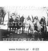 Historical Image of Tribal Native American Leaders on Horses - Black and White by Al