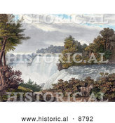 Historical Image of Two Goats near American Falls, Niagara Falls, from Goat Island by Al