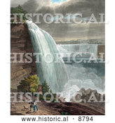Historical Image of Two Men Carrying Guns and Walking with Their Dog near Niagara Falls at Goat Island by Al