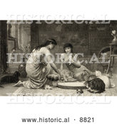 Historical Image of Two Young Women Feeding Kittens and Cats Around a Large Saucer by Al