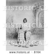 Historical Image of Washoe Native American Indian Woman Sitting in a Chair, Surrounded by Baskets 1899 - Black and White by Al