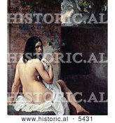 Historical Painting of a Beautiful Nude Young Female Bather Draped in a Cloth, Looking Back over Her Shoulder by Al
