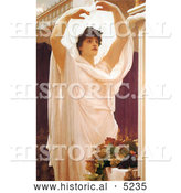 Historical Painting of a Beautiful Woman in the Sunlight, Invocation by Frederic Lord Leighton by Al