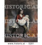 Historical Painting of a Brave Fireman Carrying a Girl in His Arms While Rescuing Her from a Fire by Al