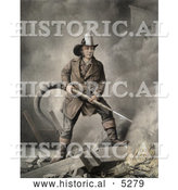 Historical Painting of a Brave Fireman Extinguishing a Building Fire with a Hose by Al