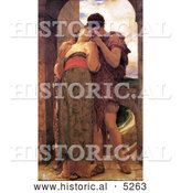 Historical Painting of a Couple Embracing, Wedded by Frederic Lord Leighton by Al