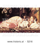 Historical Painting of a Daughter Feeding Her Mother Fruit, Mother and Child by Frederic Lord Leighton by Al