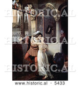 Historical Painting of a Man and Woman Embracing and Kissing Passionately, Romeo and Juliet by Al