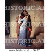 Historical Painting of a Man Passionately Kissing a Woman at the Base of a Staircase, the Kiss, by Francesco Hayez by Al