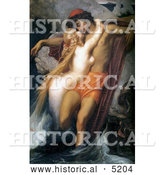 Historical Painting of a Mermaid Kissing a Man, the Fisherman and the Syren by Frederic Lord Leighton by Al