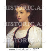 Historical Painting of a Portrait of a Girl, Biondina by Frederic Lord Leighton by Al