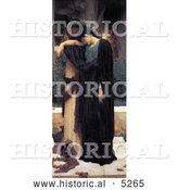 Historical Painting of a Sad Woman in a Black Robe, Titled Lachrymae by Frederic Lord Leighton by Al