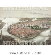 Historical Painting of an Aerial View of Boston As Seen from the North by Al