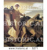 Historical Painting of Elijah in the Wilderness by Frederic Lord Leighton by Al