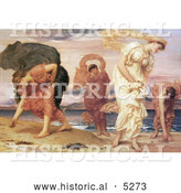 Historical Painting of Greek Girls Picking up Pebbles by the Sea by Frederic Lord Leighton by Al