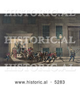 Historical Painting of Men of the Fire Department Pulling out an Old Fashioned Fire Engine by Al