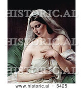 Historical Painting of Odalisque, Nude and Draped in White Cloths by Francesco Hayez by Al